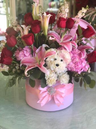 Pink Diamond Rose Pup Hat Box