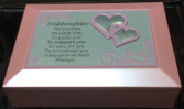 Pink double heart jewellery box Engraveable