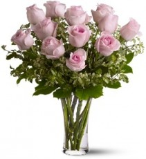 Pink Dozen Roses Arranged