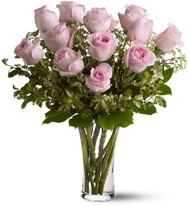 Pink Dozen Roses Arranged