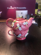 Pink Dragonfly Tea for One set Gift Item