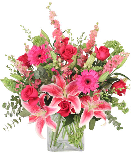 Pink explosion vase arrangement in barre vt forget me not flowers pink explosion vase arrangement mightylinksfo