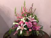 Pink Floral Fantasy Basket