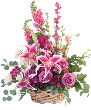 Pink Floral Fantasy Basket Arrangement in Pelican Rapids, MN | Brown Eyed Susans Floral