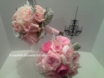 Pink Garden Roses Bridesmaid Bouquet