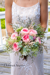 Pink garden roses with succulents wedding
