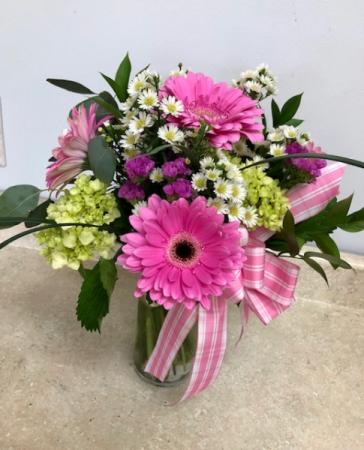 Pink Gerbera and Green Mini Hydrangea All Around Vase