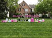 Pink Happy Birthday Yard Card