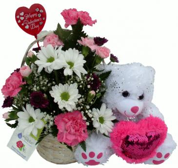 Pink Heart Bear Basket Arrangement