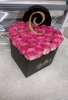 Pink Heart Box w Initial 25 Fresh Roses