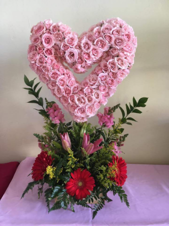 Pink Heart Floral Arrangement