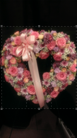 pink heart sympathy wreath