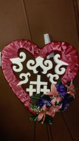 Pink heart triple cross Memorial