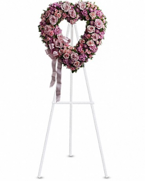 pink heart wreath Funeral wreath in Edmonton, AB | PETALS ON THE TRAIL