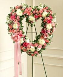 Pink Heart Wreath Standing spray