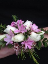 Pink Hyacinth and Spray Roses Wrist Corsage