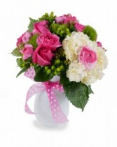 Pink Is It! Fresh cut Premium flowers in white vase