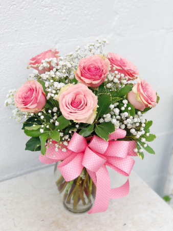 Pink Kiss Roses Floral Arrangement