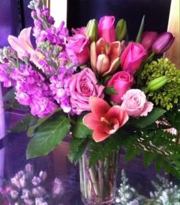 Pink & Lavender Bouquet Vase in Bethel, CT | BETHEL FLOWER MARKET OF STONY HILL