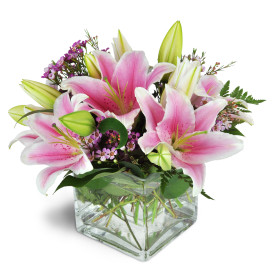Pink Lilies 5'' cube vase