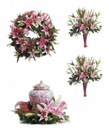 Pink lily funeral Premium Package 1