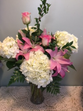 Pink Lily, Hydrangea and Premium Rose Arrangement