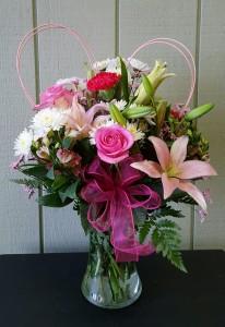 Pink Lily Vase Valentine's Day