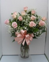 Pink Long Stem Roses  Vase arrangement