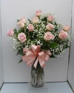 Pink Long Stem Roses  Vase Arrangement