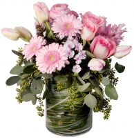 Pink Lovers Vase of beautiful pink flowers