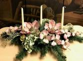 Pink Magnolia Christmas Centerpiece