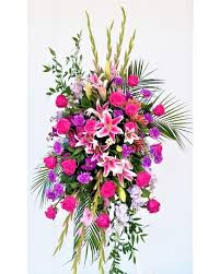 "PINK MEMORY SPRAY STANDING FUNERAL PC ON A 5'-6"" STAND"