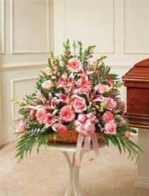 Pink Mixed Fireside Basket Funeral - Sympathy