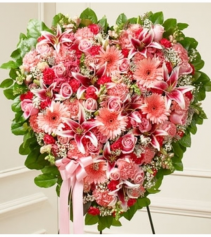 Pink Mixed Flower Heart Standing Spray