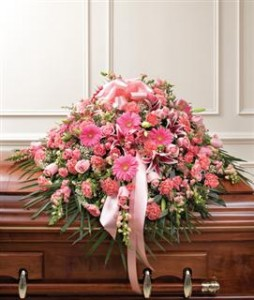 Pink Mixed Half Casket Cover Funeral in Crestview, FL | The Flower Basket Florist