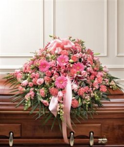 Pink Mixed Half Casket Cover Funeral