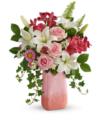 Pink n' Peach Paradise  All-Around Floral Arrangement