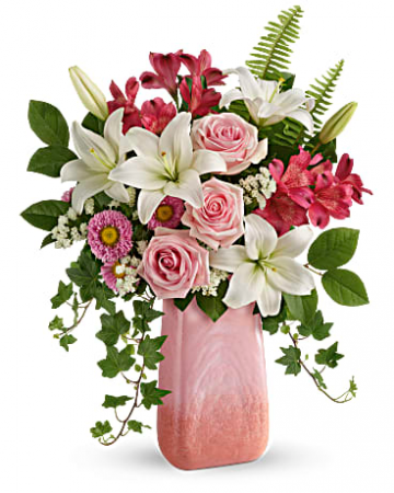 Pink  N' Peach  Paradise Vase Arrangement