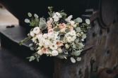 Pink & Navy Florals Bridal Bouquet