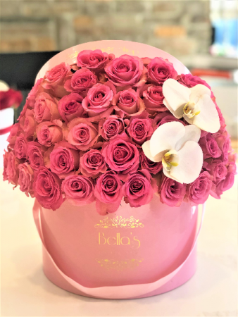 PINK-ON-PINK 60 ROSES & 2 ORCHIDS