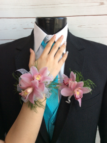 Pink Orchid (2 Bloom) Wrist Corsage & Boutonniere Pair