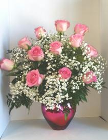 Pink Passion Heart Bouquet 12 Vase Arrangement