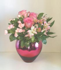 Pink Passion Heart Bouquet  Mix  Vase Arrangement