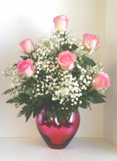 Pink Passion Heart Bouquet 6 Roses Vase Arrangement