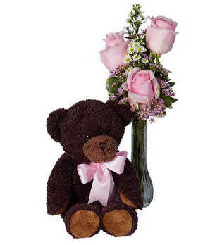Pink Passion Roses with Bear Vase Arrangement