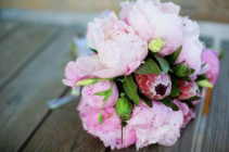 Pink Peonies and exotics  Hand-tied
