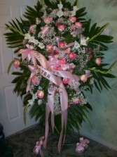pink perfection standing spray funeral spray