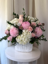 Pink Petals  Ceramic Container Arrangement