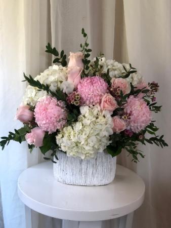 Pink Petals  Ceramic Container Arrangement