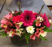 Pink Petals  Wood Box Arrangement